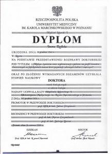 Dyplom uzyskania tytułu doktora